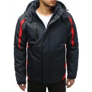 Pánská šedá lyžařská bunda s červeným lemováním