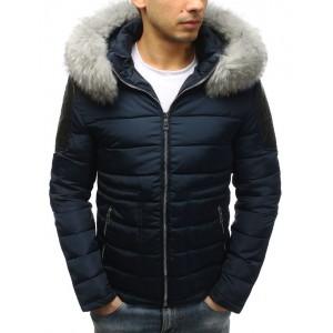 Stylová pánská zimní bunda tmavomodré barvy s odnímatelnou kožešinou na kapuci
