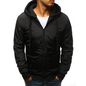 Černá pánská bomber bunda s kapucí