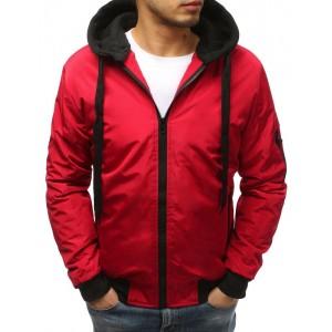 Červená pánská bomber bunda s odnímatelnou kapucí