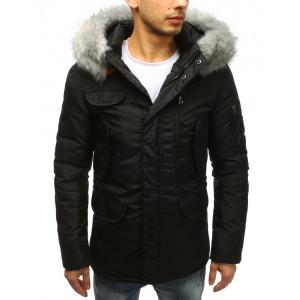 Moderní černá pánská větrovka na zimu s kapucí a kožešinou