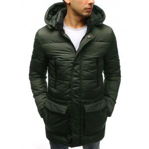 Dlouhá zimní bunda pánská zelené barvy s dvouvrstvou kapucí