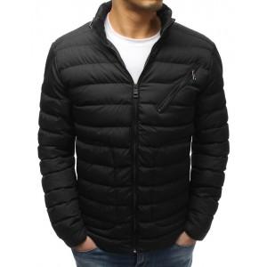 Černá pánská bunda prošívaná se šikmým náprsní kapsou na zip