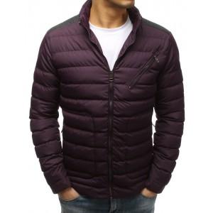 Tmavě bordová prošívaná pánská bunda na zimu