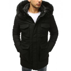 Pánská černá zimní větrovka s huňatou kožešinou na kapuci