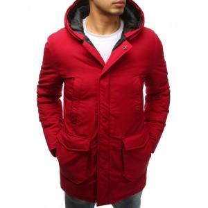 Červená dlouhá zimní bunda pánská s kapsami