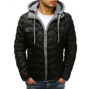 Prošívaná černá pánská bunda se zapínáním na zip