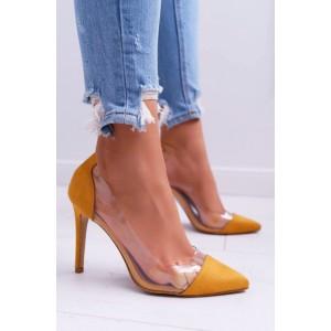 Vysoké dámské semišové lodičky ve žluté barvě