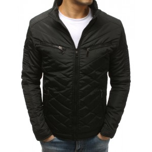 Moderní černá pánská zimní bunda s prošíváním a bez kapuce