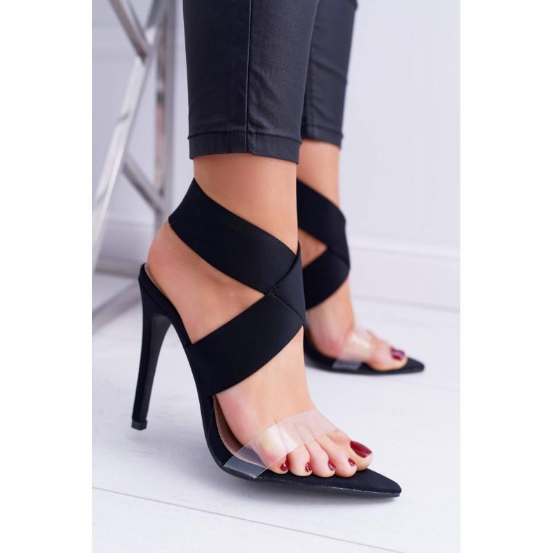 44cff47bbe61 Černé sandály s volnou patou a špičkou na úzkém podpatku