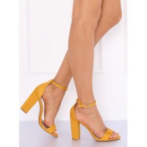 Stylové dámské letní sandály v žluté barvě s vázáním na řemínek