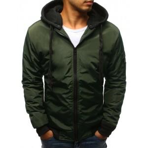 Pánská bombr tmavě zelené barvy s kapucí