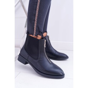 Nasouvací dámské kotníkové boty se zipem v přední části