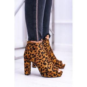 Leopardí kotníkové boty na podpatku