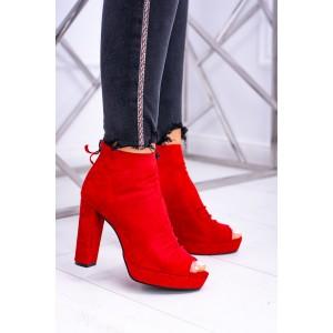 Módní červené kotníkové boty na podpatku