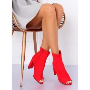 Červené dámské kotníkové boty se zipem na hrubém podpatku