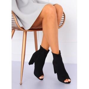 Kotníkové boty na hrubém podpatku s otevřenou špičkou v černé barvě