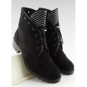 Originální černé kotníkové boty ny zip s třpytkami a módními šňůrkami