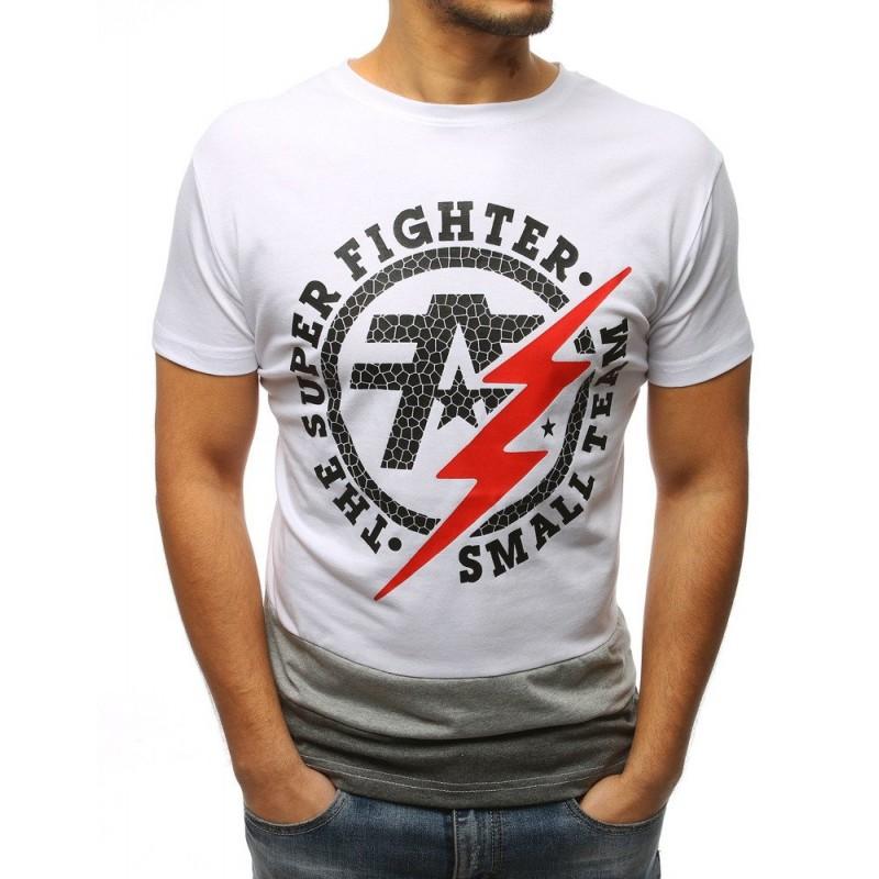 ade6324cc181 Stylové bílé pánské tričko s potiskem a nápisy