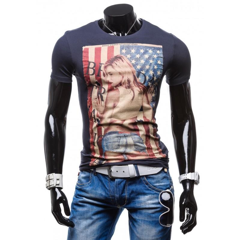 Stylové pánské trička s potiskem USA modré barvy - manozo.cz f5522f0b6d