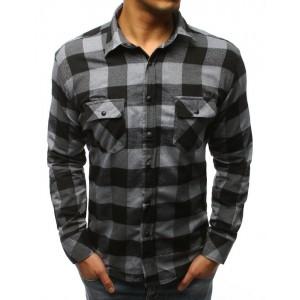 Pánská károvaná košile šedé barvy s dlouhým rukávem