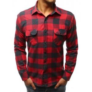 Károvaná pánská košile červené barvy