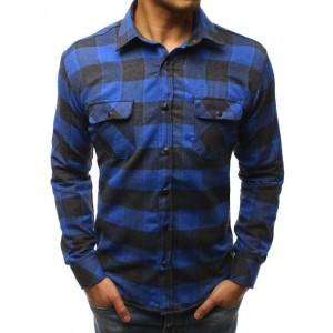 Modrá károvaná košile pro pány