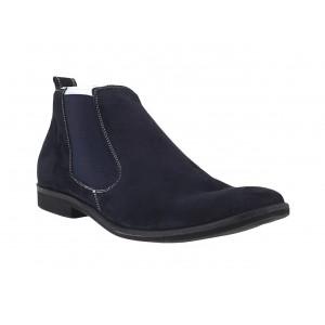 Pánské kotníkové sametové boty modré barvy