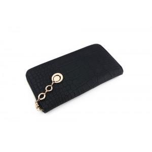 Dámská černá peněženka s krokodýlím vzorem