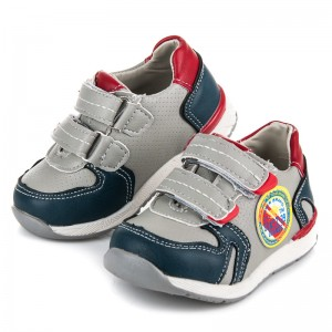 Dětská sportovní obuv na suchý zip šedé barvy