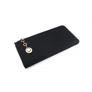 Velká dámská černá peněženka s ozdobným přívěskem