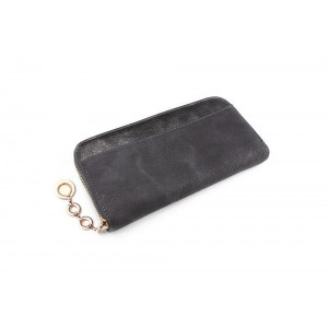 Tmavě šedá velká dámská peněženka na bankovky a mince