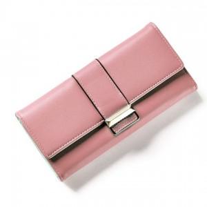 Elegantní dámská světle růžová peněženka se zapínáním na cvok