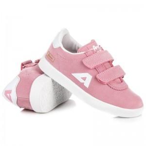 Dětská semišová obuv růžové barvy