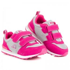 Dětské přechodné boty tmavě růžové barvy