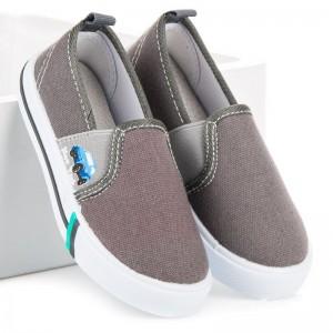 Šedé jarní nazouvací boty pro děti