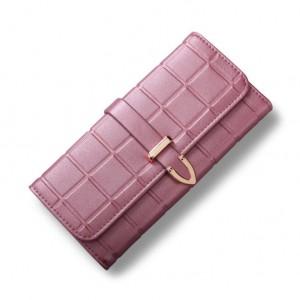 Tmavorůžová dámská velká peněženka na cvok