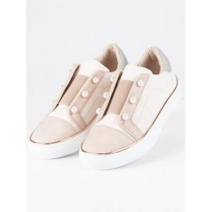 Dětské slip on boty s ozdobnými korálky béžové barvy