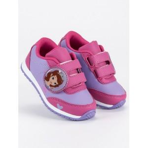 Dětské boty s pohádkovým motivem fialové barvy