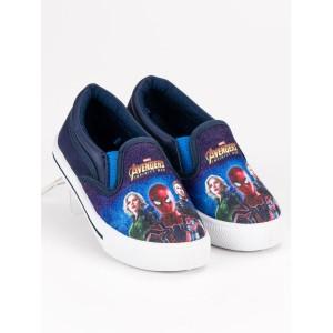 Dětská obuv modré barvy s motivem pohádky Avengers