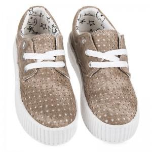 Dětská obuv na platformě hnědé barvy