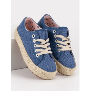 Modré dětské espadrilky na platformě s tkaničkami
