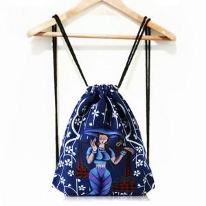 Dámský sportovní batoh na záda v modré barvě s pohádkovým motivem