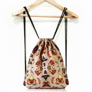 Béžové kapsa na záda s lidovým motivem pro dámy