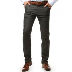 Pohodlné pánské chino kalhoty tmavě šedé barvy