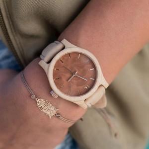 Stylové béžovo hnědé dámské dřevěné hodinky