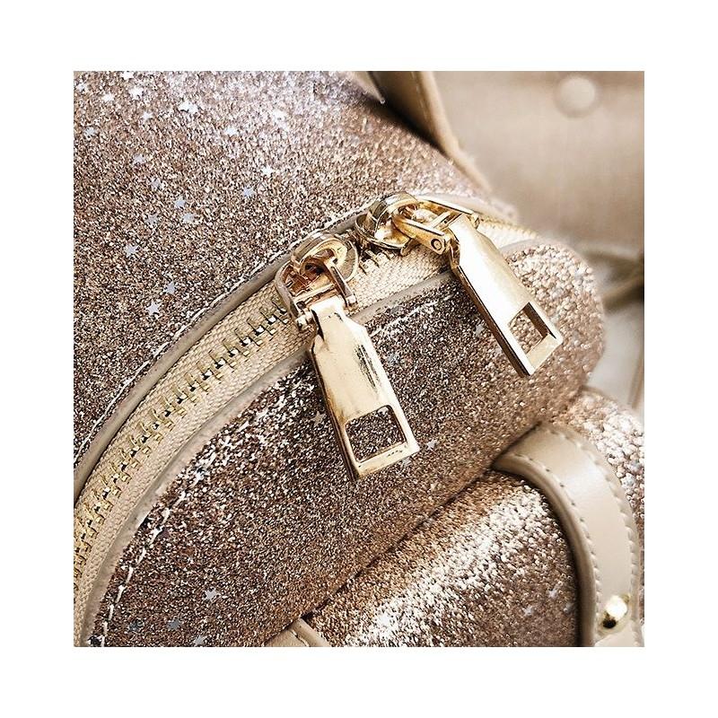 9c27fa120c Malý černý metalický dámský batoh