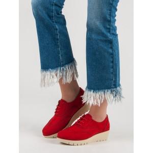 Semišové dámské polobotky červené barvy na podpatku