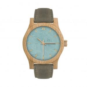 Dámské dřevěné hodinky v šedomodré barvě