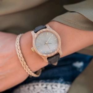 Dřevěné dámské šedě zelené hodinky s koženým řemínkem